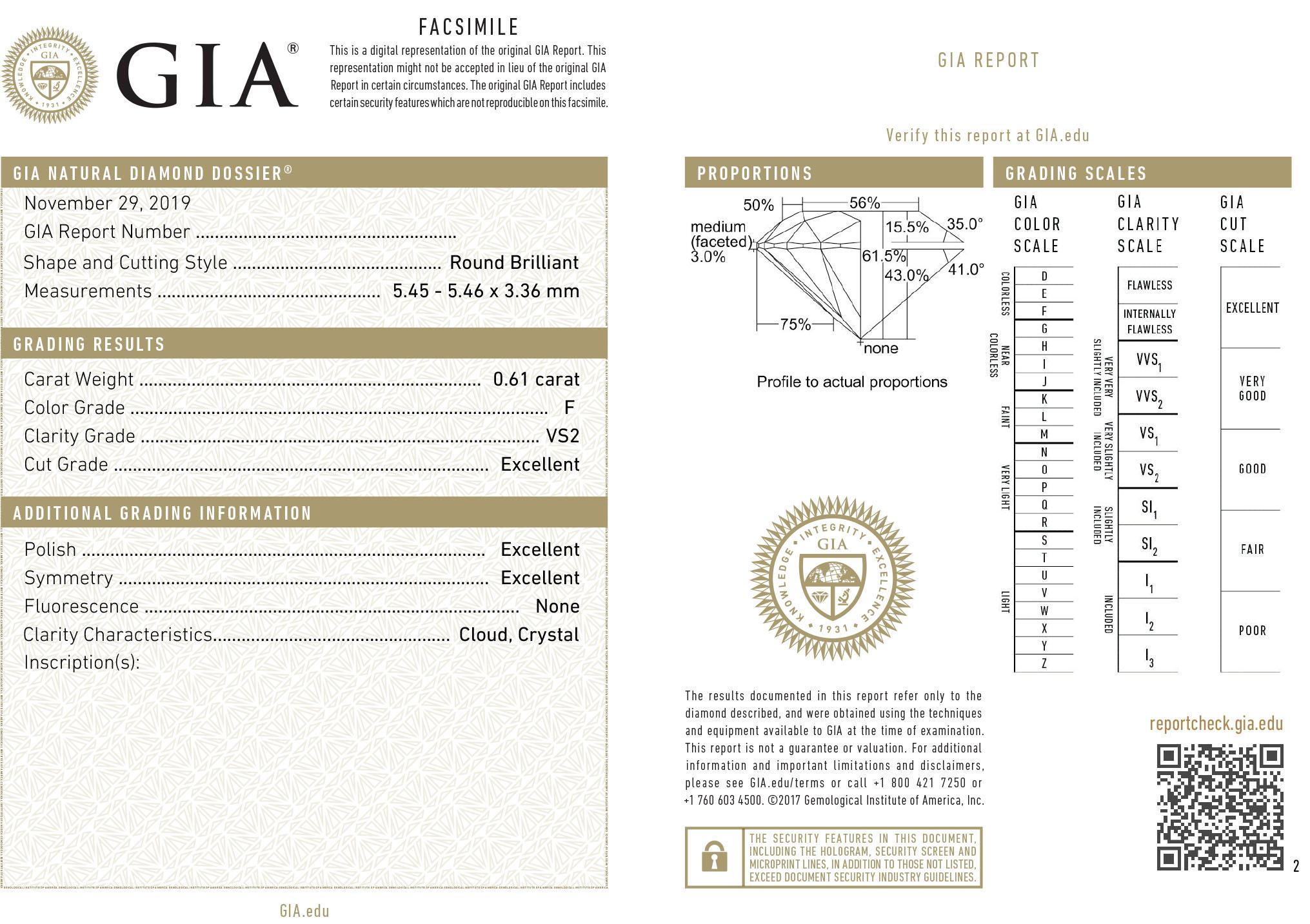Kwiat Classic 3-Prong Round Diamond Solitaire Pendant, 0.6 Carat Diamond Size, F Color, VS2 Clarity in Platinum | Kwiat