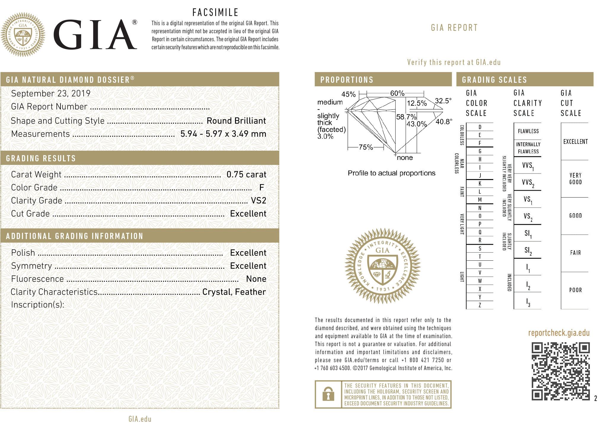 Kwiat Classic 3-Prong Round Diamond Solitaire Pendant, 0.75 Carat Diamond Size, F Color, VS2 Clarity in Platinum | Kwiat